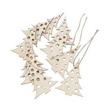 10pcs Wooden Embellishments Christmas Decoration Christmas Tree Pattern Pendant with Hemp Ropes