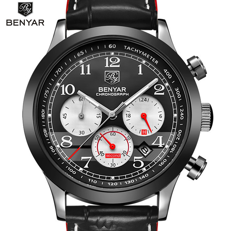 Men quartz watch Original 2017 top brand BENYAR steel mens watch waterproof Wristwatch multifunctional fashion watch men<br>