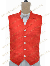 Free Shipping  Halloween Costume Gorgeous Red Jacquard Cloth Single Breasted Victorian Steampunk Waistcoat