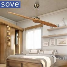 Village Nordic 2 Wooden Blade DC Ceiling Fan With Remote Control Attic Dining Room Without Light Fan 220V Ventilador de Teto