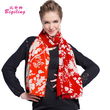 Brand French Design Women Scarf Wool Printed Flowers Blanket Winter Thick Soft Scarf Oversized Pashmina Wrap