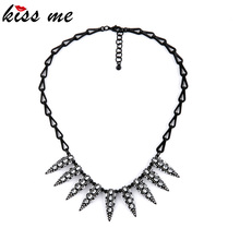 OL Style New Arrival Native American Brand Black Rivets Pendant Necklace Factory Wholesale(China)