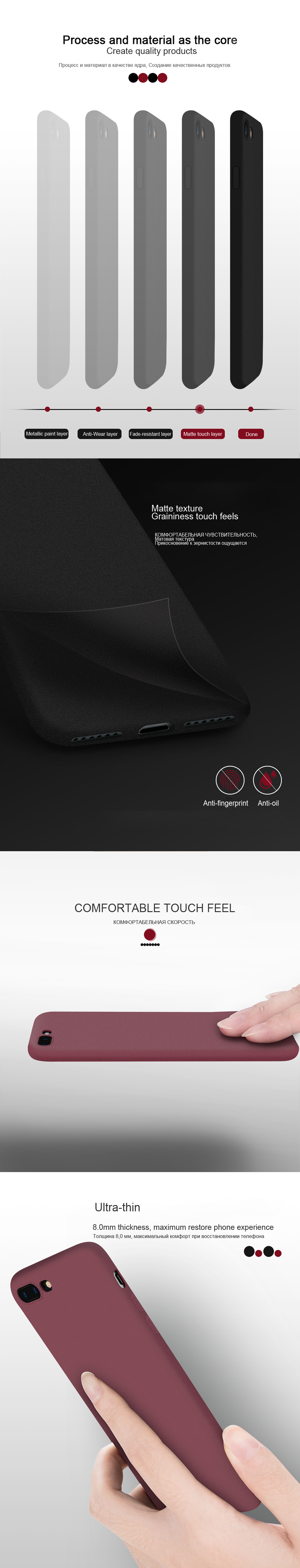 LECAYEE NEW Original Phone Case For Apple iphone 7 6s 8 Plus X 5S Case Full Cover TPU Soft Matte Touch Feel Back Protective Case (10)