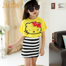 Girls Clothing Sets Summer 2017 Casual Kitty Cat White Shawl +Striped Skirts Kids Children Clothes for Birthday Beach Party(China)