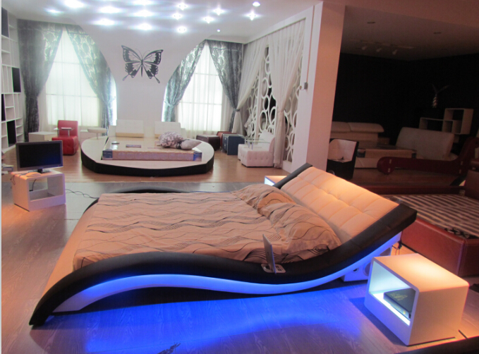 Modern bedroom furniture Genuine leather bed Queen bed furniture with led +music player(China (Mainland))