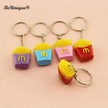 Simulation food french fries pendant keychain Color Resin chaveiro Mini keyring advertising promotional gifts Kids DIY accessory