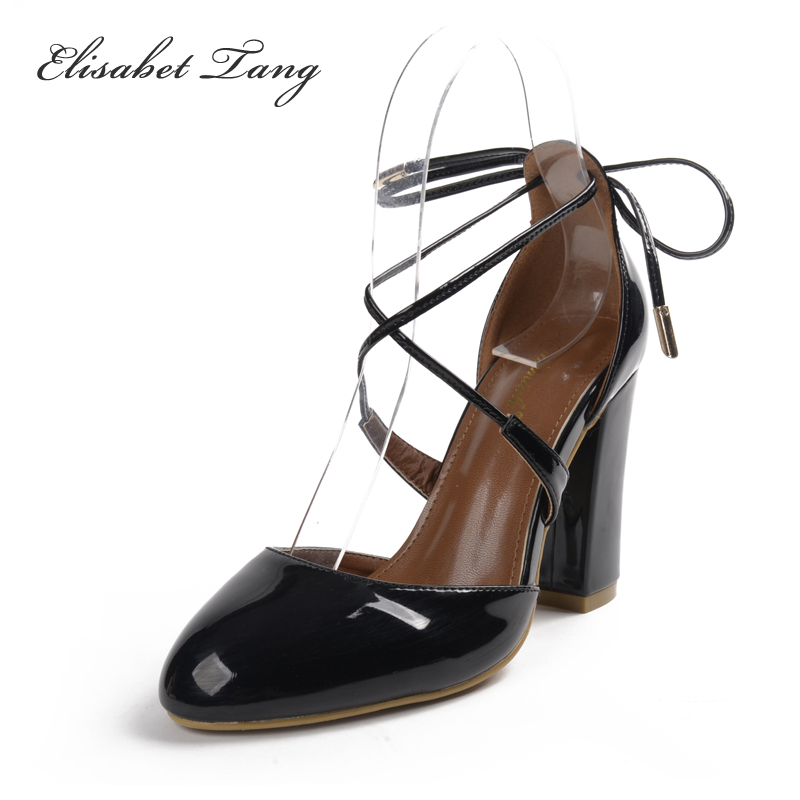2017 Newest Pink Pumps Sexy Cross Straps Pumps Beautiful Square Heels Pointed Toe Dresses Shoes Brand Shoes Woman Plus Size <br><br>Aliexpress
