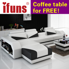 IFUNS Custom made classic italian Leather sofa,L-shaped designs heated seat Corner sofa white genuine leather living