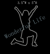 Free shipping Cheerleader Silhouette Rhinestone Transfer Iron On DIY Bling
