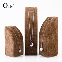 Oirlv Free Shipping Coffee Gray Necklace Display Stand For Jewellery Shop Sorted Bracelet Packaging Holder Set Raiser Exhibitor