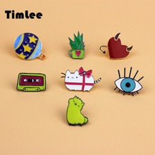 Timlee X204 Cartoon Alpaca Aloe Vera Vintage Magnetic tape Cute Cat Eye Planet Design Metal Brooch Pins Gift Wholesale