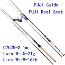 Tsurinoya  PRO FLEX C702M-2.1m M Action  FUJI Guide Reel Seat Bait Casting Rod High Carbon 3A Cork Hanle Cast Fishing Rod Pesca