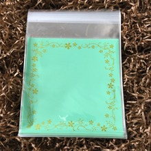 (100pcs/lot) 12x12cm Green Flower Lace Bag Self Adhesive Cookie Bags, Cellophane Bag For Candy Bag Snack Soap Gift Packaging
