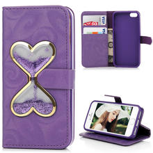Heart Hourglass Liquid Quicksand Glitter Wallet Leather Case For iPhone 5 5S SE 6 6S Plus For Samsung Galaxy S5 S7 J5 J7 2016