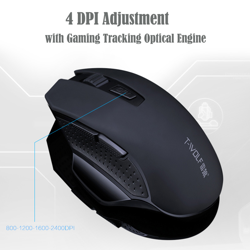 T-WOLF Q11 Mute Wireless Gaming Mouse 2400 DPI (5)
