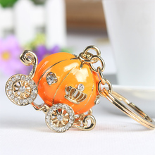 Orange Pumpkin Carriage Cute Crystal Charm Purse Handbag Car Key Keyring Keychain Party Wedding Birthday Gift
