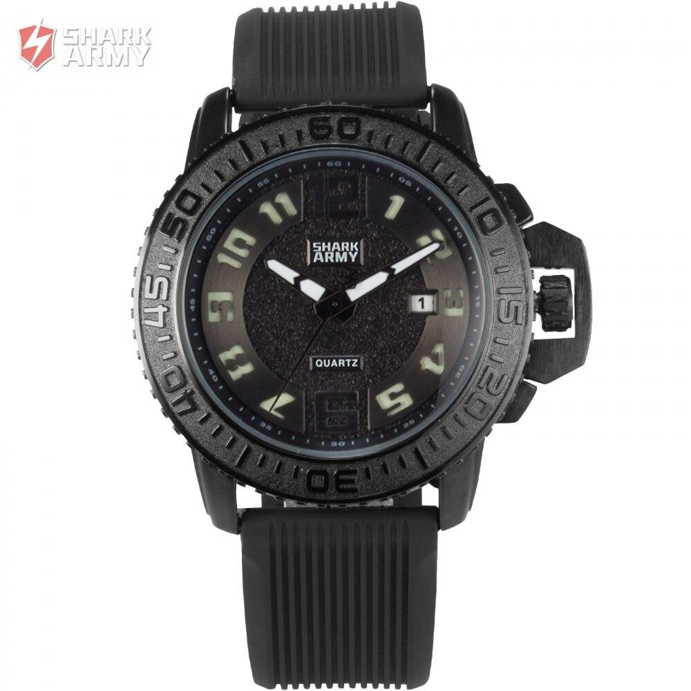 Shark Army Brand Watch Black White Auto Date Silicone Strap Military Relogio Masculino Men Quartz Sport Wristwatch Gift/ SAW180<br>