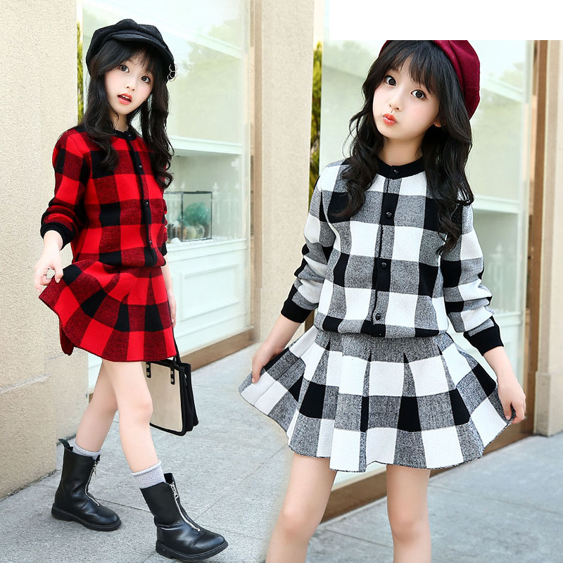 big girls clothing sets autumn 2018 girls clothes plaid knitwear sweater + knit skirt kids clothes set girls spring tracksuit<br>