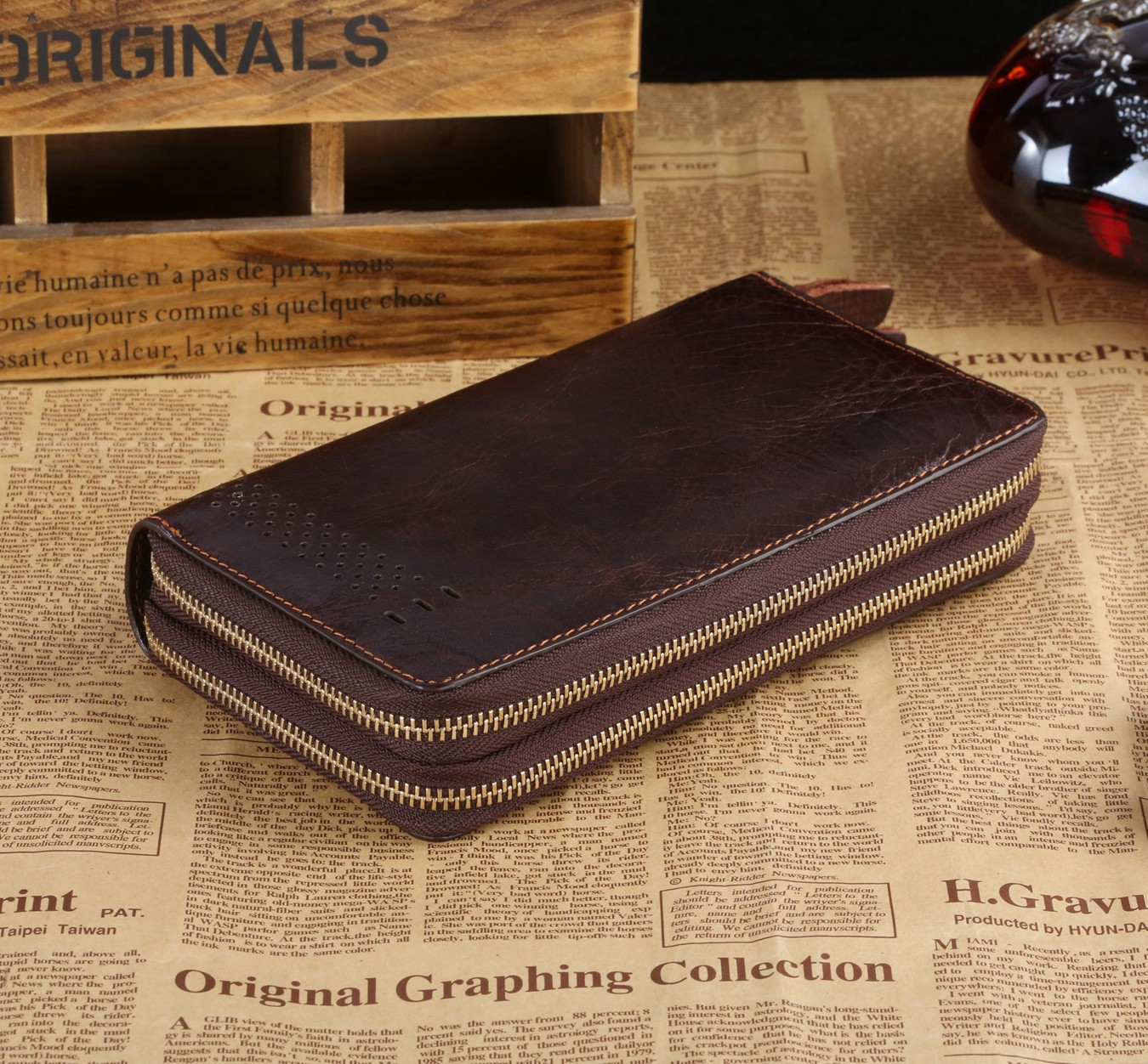 Hot Style Leather Wallet High-grade Leather Hand Caught Business Man Purse Vegetan Leather<br><br>Aliexpress