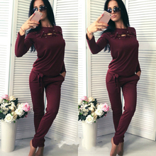 Comfortabe Fashion Women Long Sleeve Tracksuit Top Long Pants Two Piece Set Ladies Outfit Femme Sporting Suits Sportwear