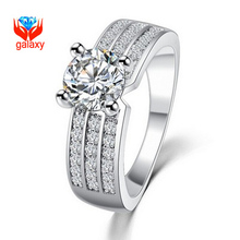 New Trendy Big Promotion Wedding Rings for Women with 18K Gold & Platinum Color Top Grade 6mm CZ Diamant Engagement Ring ZR815