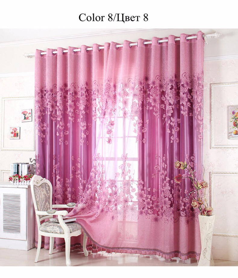 European Royal Curtains 11 Colors Embroidered Voile Curtains for Living Room Drapes Crystal Beaded Curtains Sheer (17)