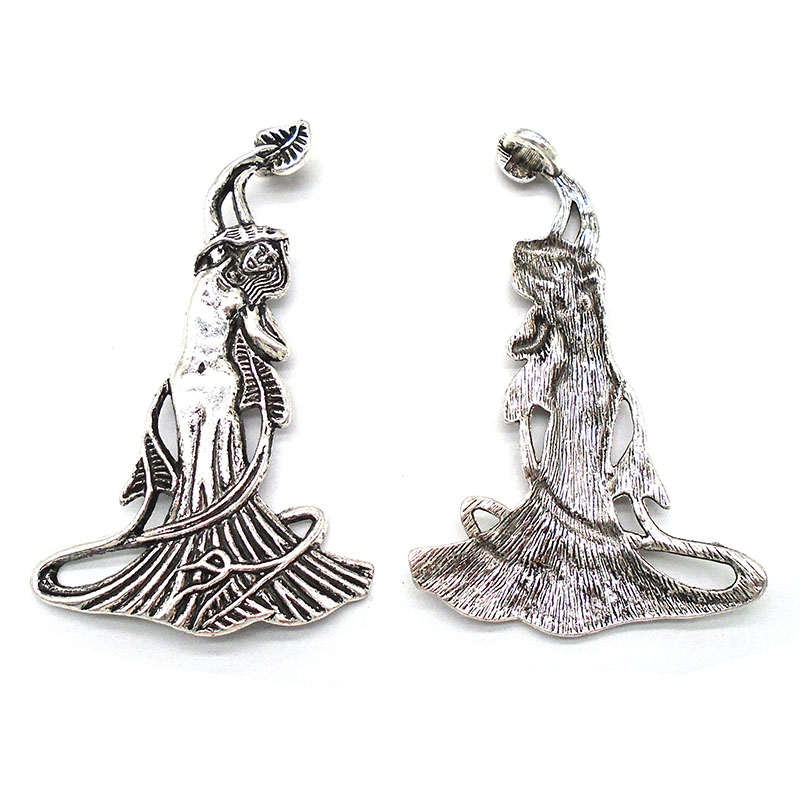 5 Tibetan Silver Large Goddess Venus Charms Pendants Jewellery Findings 68x42mm