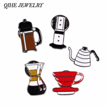 QIHE JEWELRY Hand Punch Pot AeroPress Chemex Filter Bowl Coffee Enamel Pins Shirt Bag Hat Decoration JewelryCoffee Lovers Gift