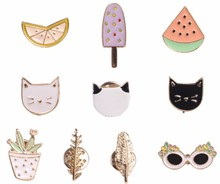 Free shipping Cute 2016  Fruit Cat Sunglass Leaf Orange Pot Ice cream Watermelon Metal Enamel Brooch Pins