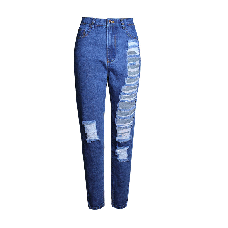 Hot Summer Jeans Woman Mid-Waist Jean Pants Woman Fashion Ripped Jeans for Women American Apparel Jeans Femme Beading Holes PantОдежда и ак�е��уары<br><br><br>Aliexpress