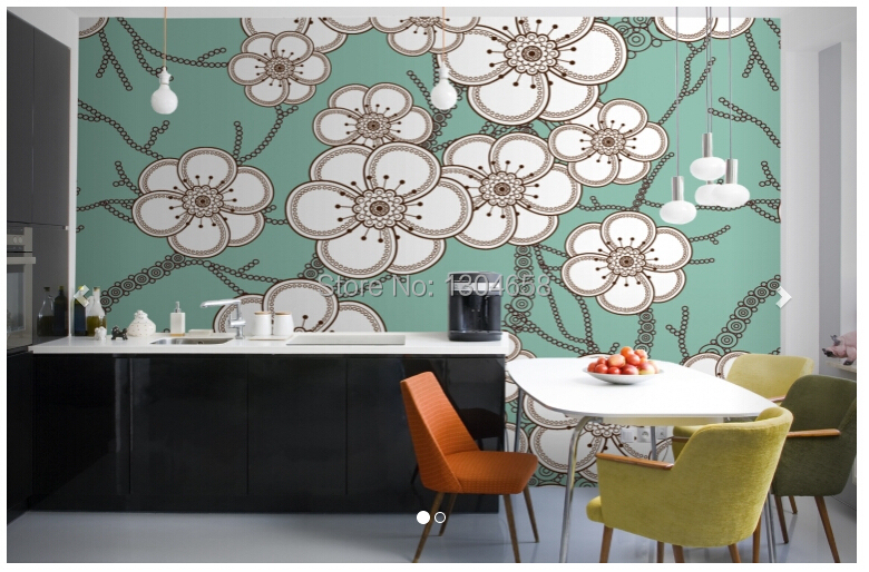 Custom 3d large wallpaper for living room kitchen background PVC wallpaper Floral flower Illustration Wall Mural<br>