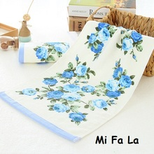 Hot Sale 34*74cm Mi Fa La Pink Blue Flower Terry Towels Cotton Face Hand Towel Bathroom Peony Floral Face Washcloth Toalla MFL15