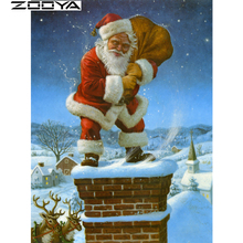ZOOYA Diamond Embroidery Chimney Santa Claus Handmade Diamond Painting Diamond Mosaic Round Diamond Cross Stitch Christmas R103