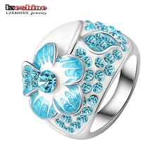 LZESHINE New Hot Fashion Enamel Jewelry Genuine SWA Elements Ring Silver Color Blue Austrian Crystal Flower Rings Ri-HQ0015-c