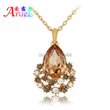 collares mujer populares korean luxury fashion gold color chain boho channel jewelry crystal pendant necklaces for women girls(China)