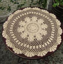 Vintage Handmade White Crochet Tablecloth Round Table Topper Coffee Tea Table Cloth Cover Toalha De Mesa(China)