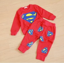 Retail spring autumn period style children superman cotton set boys girls sports leisure suit baby jogging clothes(China)