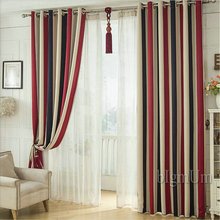 Blackout Eiffel Iron Luxury Modern Style Window Curtains Colored Stiped Window Drapes For Living Room Bedroom Curtains Cusomized