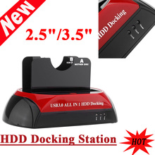 "HDD Docking Dual Double All in 1 2.5""/3.5"" IDE SATA USB 3.0/2.0 Dock Station 70MB/S Cloning 5GB/s Transfer Speed US Plug"