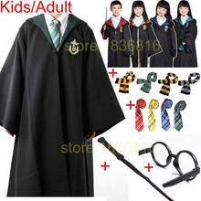 Adult Kids Robe Cloak with Tie Scarf Wand Glasses Ravenclaw Gryffindor Hufflepuff Slytherin for Harri Potter Costume Cosplay(China)