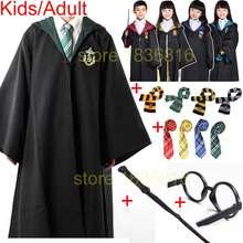 16fed12eca49 Adulte Potter Enfants Robe Cape avec Cravate Écharpe Baguette Lunettes  Serdaigle Gryffondor Poufsouffle Serpentard pour Harris