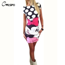 CWLSP Cute Printing Sleeveless Dresses Cartoon Mouse Print Bodycon Dress Summer Fashion Women Mini Dress Vestidos QL2278