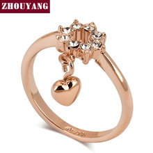 ZHOUYANG Top Quality ZYR204 Concise Flower Heart Crystal Ring Rose Gold Color Austrian Crystals Full Sizes Wholesale