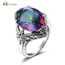 China Soild 925 Sterling Silver Manufacturers Mystic Rainbow Crystal Ring For Women Vintage Sterling Silver Jewelry Luxury Ring