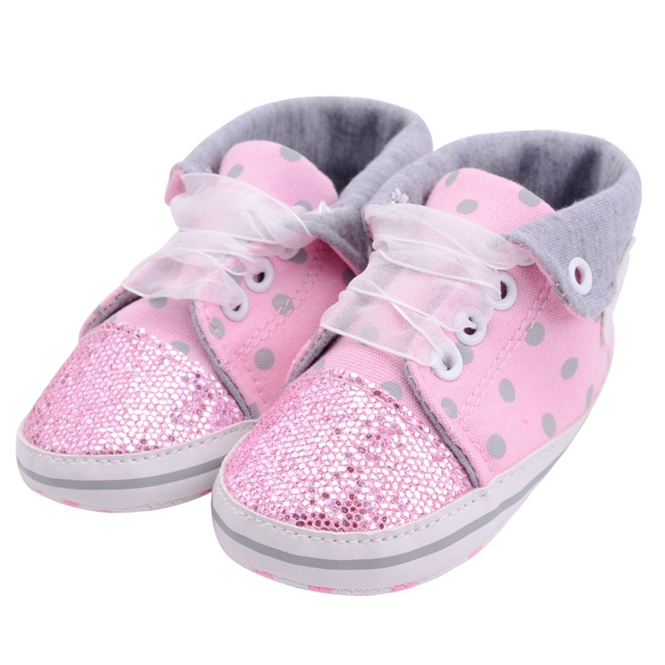 Infant Newborn Baby Girls Boy Glitter Polka Dots Autumn Lace-Up First Walkers Sneakers Shoes Adorable RibbonToddler Canvas Shoes 11