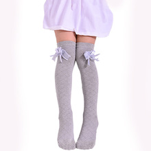 1-15Y Baby Kid Socks Girl Children Cute Princess Solid Color Lace Bow Tie Patchwork Girls Knee High Long Socks Girls Knee Socks(China)
