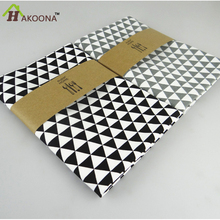 HAKOONA Classical Black White Table Cloths Napkins Triangular Geometric Pattern Cotton Baking Background Place Mats