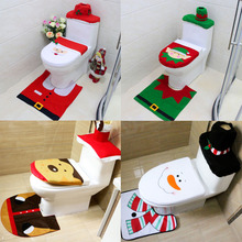 2016 Hot Sale 4 Types Cute Stylish Patterns Toilet Seat Cover and Rug Bathroom Set Contour Rug for Home Christmas Decoration