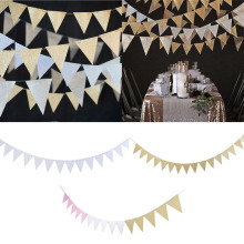 Pink White Gold Flag Banner Glitter Paper Pennant Bunting Garland, Extra Sparkle for Wedding Teepee Deco Birthday Party Nurser
