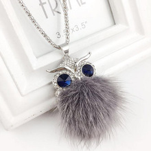 Mink Fur Owl Necklace 2 Colors Women Sweater Jewelry Fashion New Long Pendant Necklaces Gifts for Girls ND1581